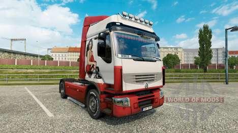 Skin Irina Shayk on a tractor unit Renault Premi for Euro Truck Simulator 2