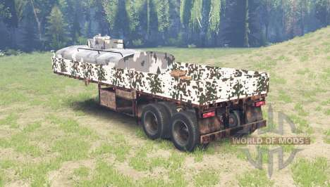 Color Winter camo on the flatbed semi trailer for Spin Tires