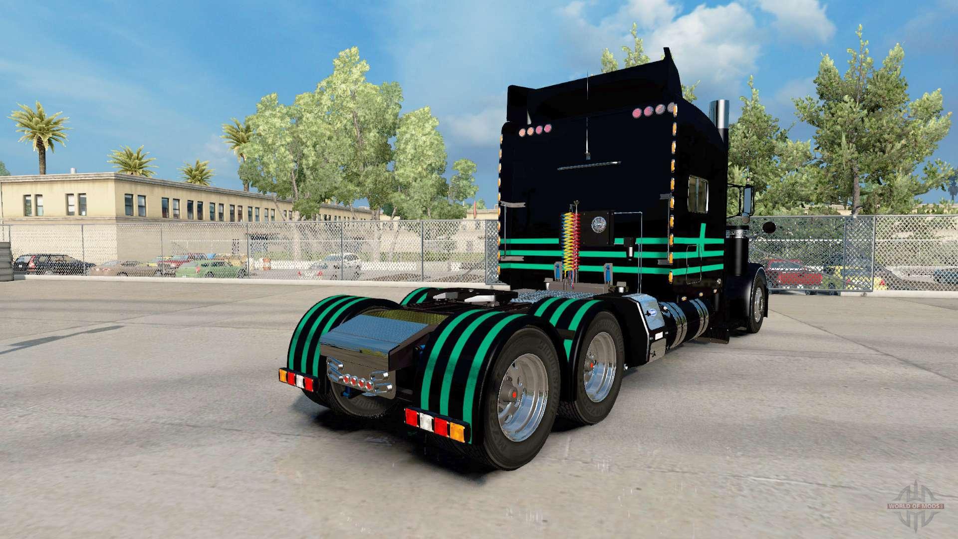 Skin Mint Green Black Na Peterbilt 389 For American Truck Simulator
