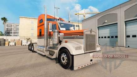 Skin Gray Orange on the truck Kenworth W900 for American Truck Simulator