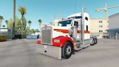 Skin White & Red Kenworth W900 tractor for American Truck Simulator