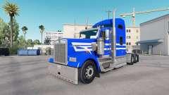 Skin Blue White Stripes on the truck Kenworth W9