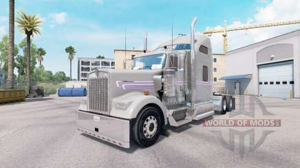 Skin Gray Purple Kenworth W900 tractor for American Truck Simulator