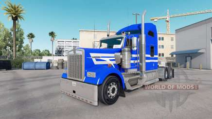 Skin Blue White Stripes on the truck Kenworth W900 for American Truck Simulator
