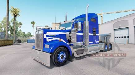 The Blue skin on a White truck Kenworth W900 for American Truck Simulator
