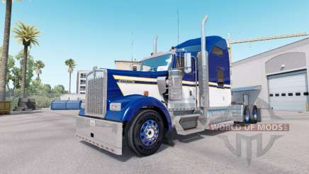 Skin Blue Yellow White for truck Kenworth W900 for American Truck Simulator