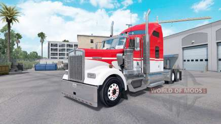 Skin White on Red tractor Kenworth W900 for American Truck Simulator